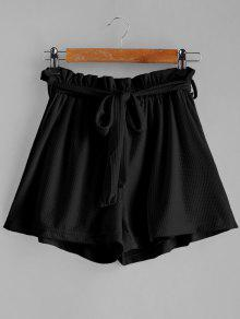 Tie Belt High Waisted Shorts - أسود M