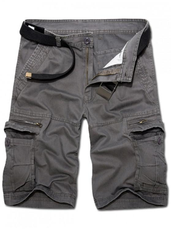 Casual soltas Fit curto Multi-bolsos voar zip Sólidos Pants Cor carga para homens - Cinza Escuro 34