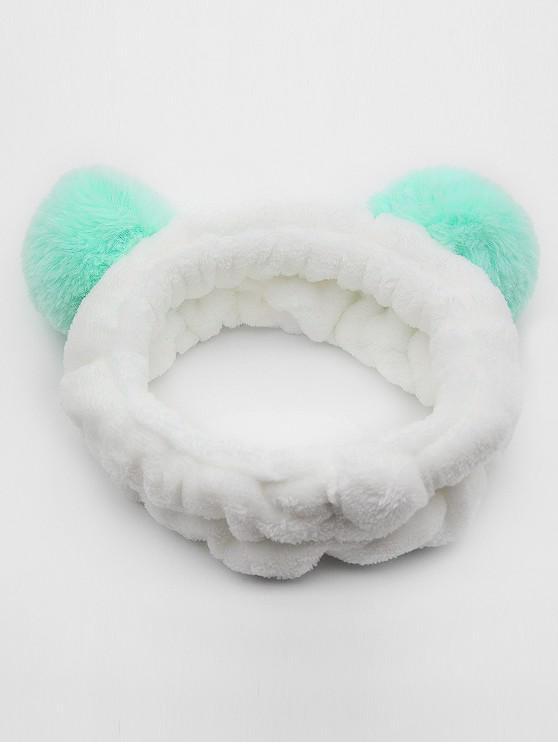 buy Vintage Fuzzy Ball Elastic Hairband - LIGHT AQUAMARINE