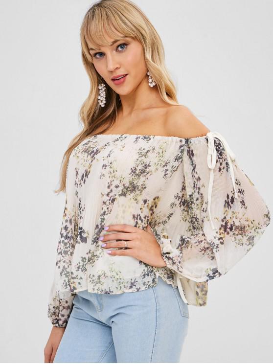 trendy Off Shoulder Floral Print Pleated Blouse - BEIGE S