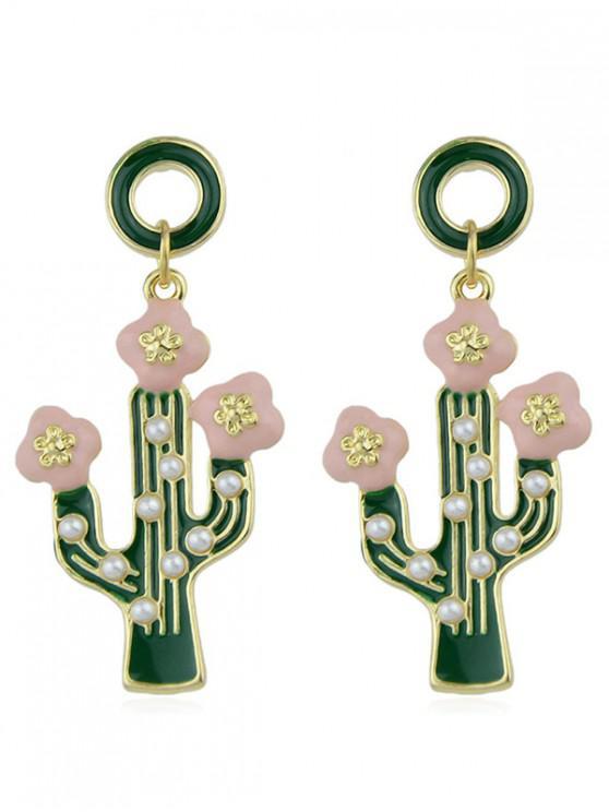 new Enamel Cactus Shape Drop Earrings - GREEN