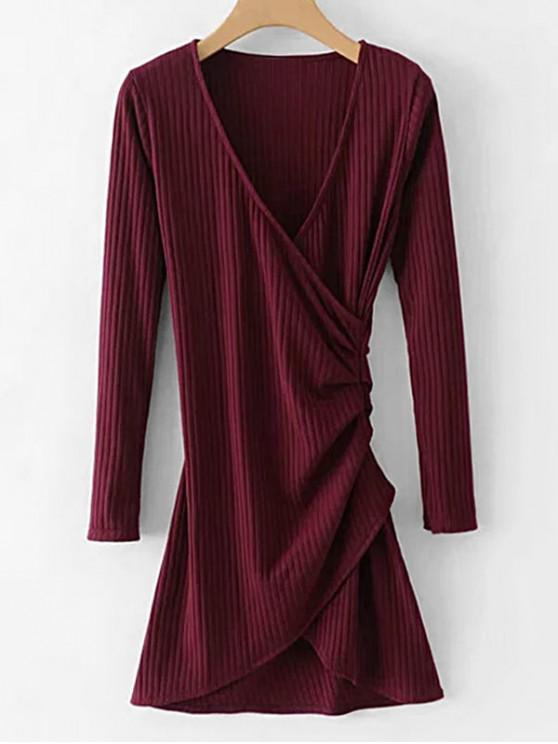 sale Long Sleeve Ribbed Draped Dress - RED WINE L