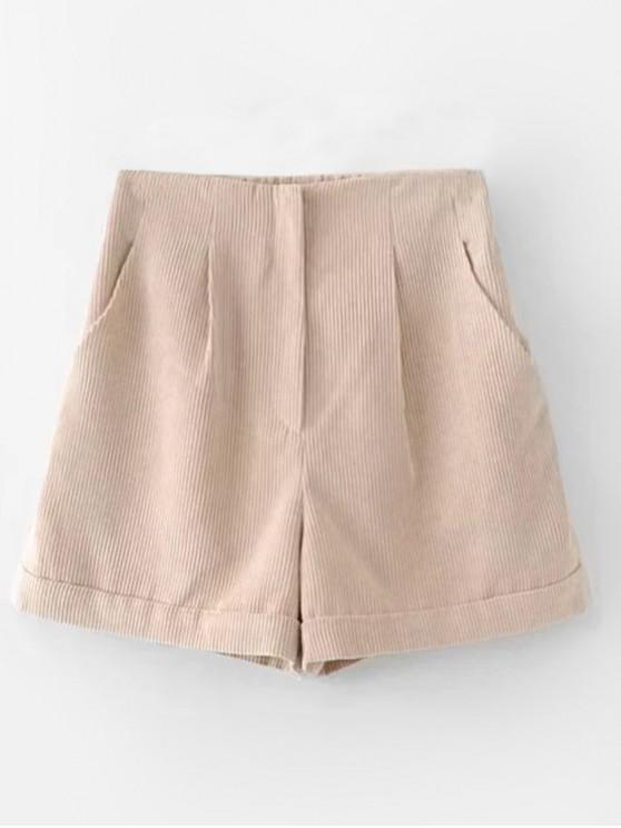 outfits Pockets High Waisted Corduroy Shorts - APRICOT S