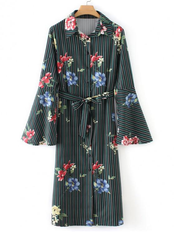 outfit Flare Sleeve Floral Stripes Shirt Dress - MULTI S