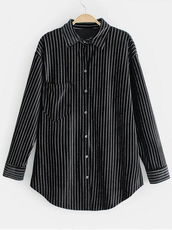 قميص بخطوط لامعة مخملية - أسود S