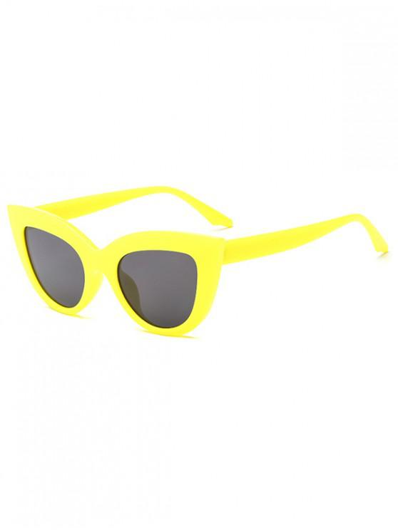 outfits Trendy Kitty Eyes Shape Frame Sunglasses - YELLOW
