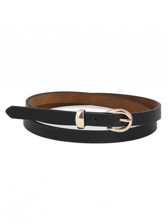 Simple Buckle Decoration Waist Belt - Noir