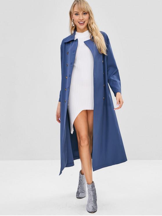 buy ZAFUL Double Breasted Long Coat - SILK BLUE L
