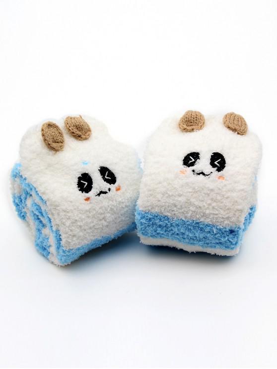 outfits Cartoon Animal Winter Fuzzy Socks - DEEP SKY BLUE