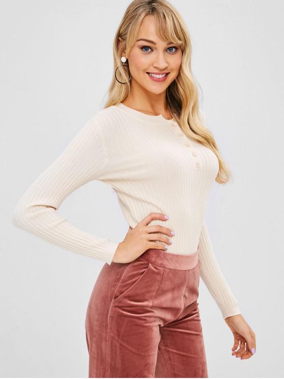 Suéter casual de medio botón acanalado - Seda Blanca Talla única