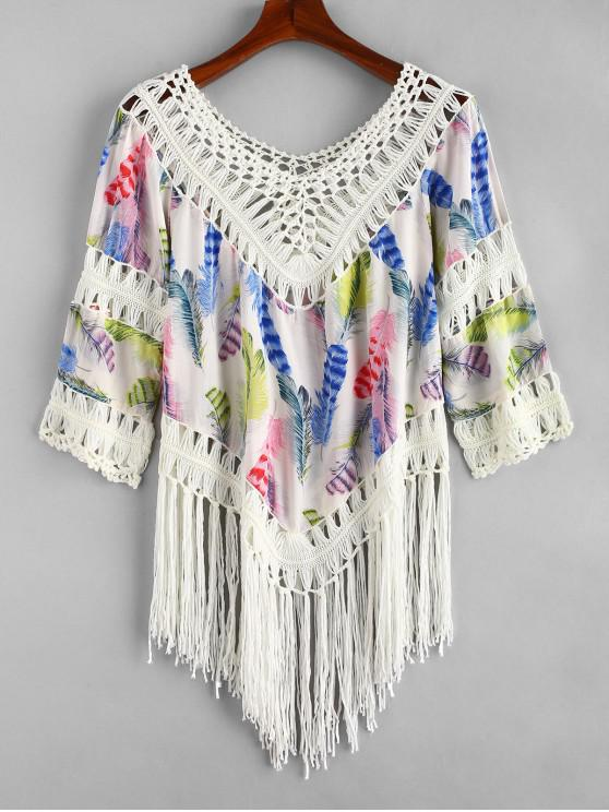 shop Feather Print Crochet Panel Fringed Top - MULTI-A ONE SIZE