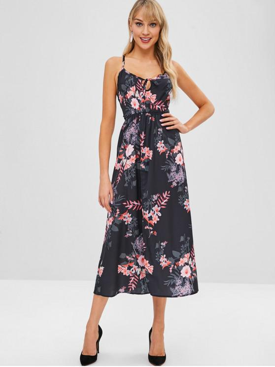 best Floral Print Split Hem Strappy Dress - BLACK S