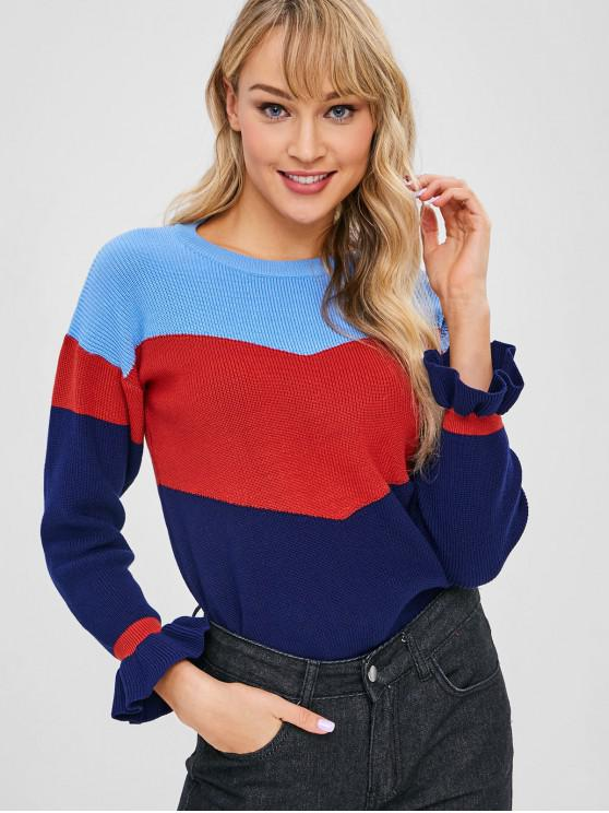 chic Flare Sleeve Color Block Sweater - MULTI ONE SIZE