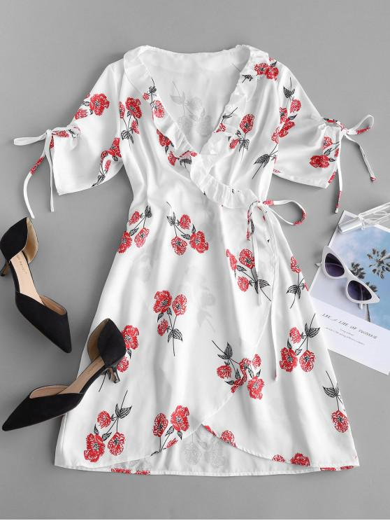 best ZAFUL Floral Print Mini Wrap Tea Dress - WHITE S
