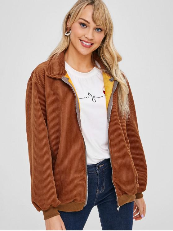 fancy Corduroy Zip Fleece Lined Jacket - BROWN L