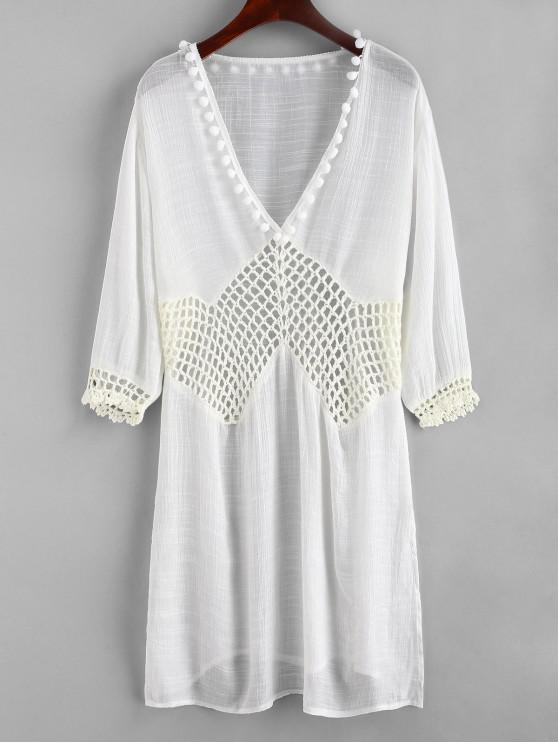 shops Pom-pom Crochet Panel Side Slit Dress - WHITE ONE SIZE
