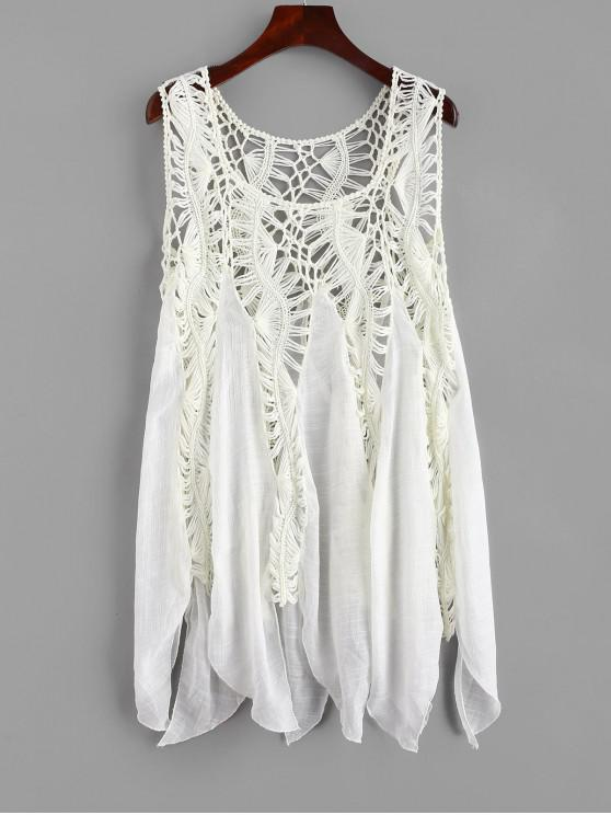 chic Crochet Panel Cover-up Dress - WARM WHITE ONE SIZE