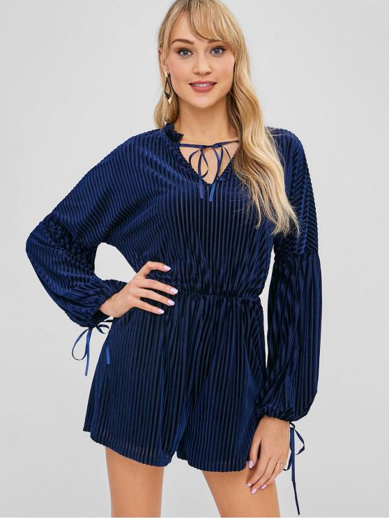 women's ZAFUL Velvet V Neck Lantern Sleeve Romper - NAVY BLUE S