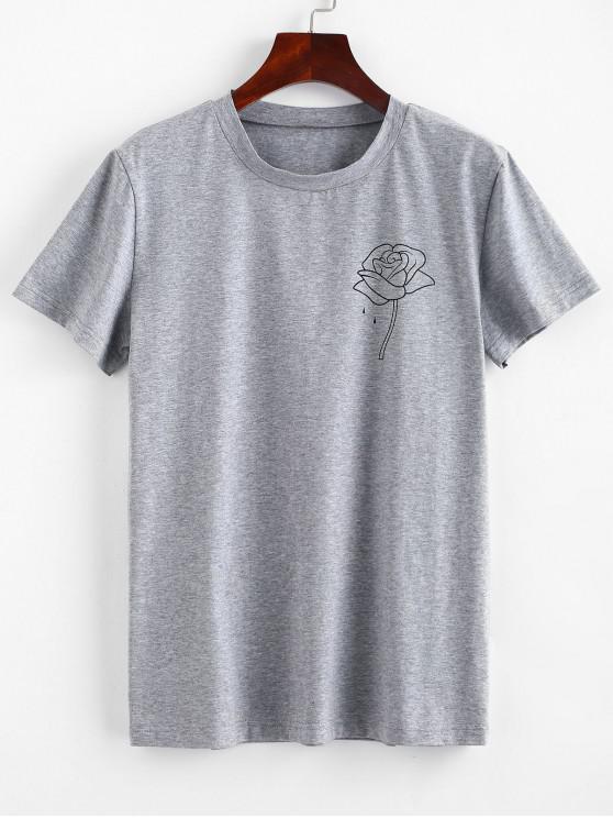 ZAFUL T-shirt Rose à manches courtes - Nuage Gris L