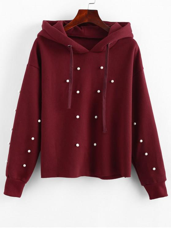 womens Solid Color Drawstring Beading Hoodie - RED M