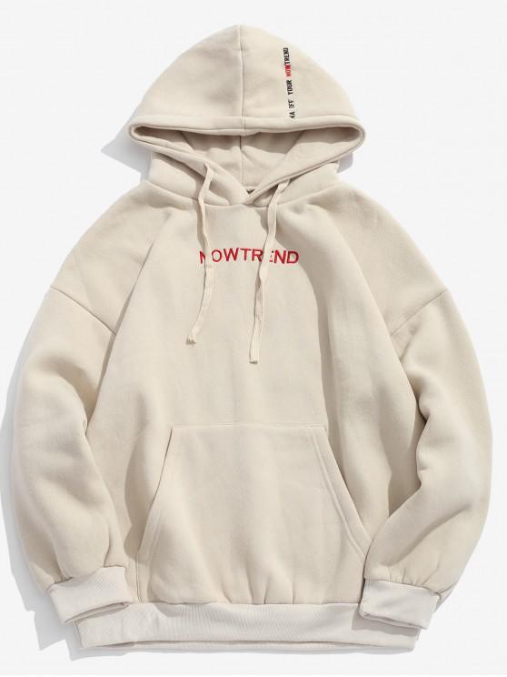 outfit Letter Drawstring Fleece Hoodie - BEIGE S