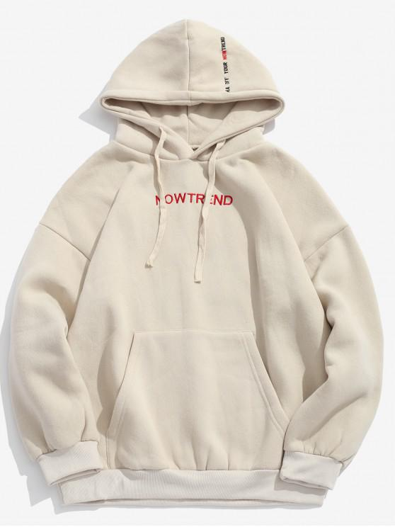 sale Letter Drawstring Fleece Hoodie - BEIGE XL
