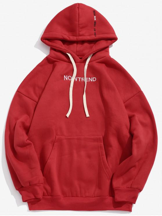 chic Letter Drawstring Fleece Hoodie - RED S