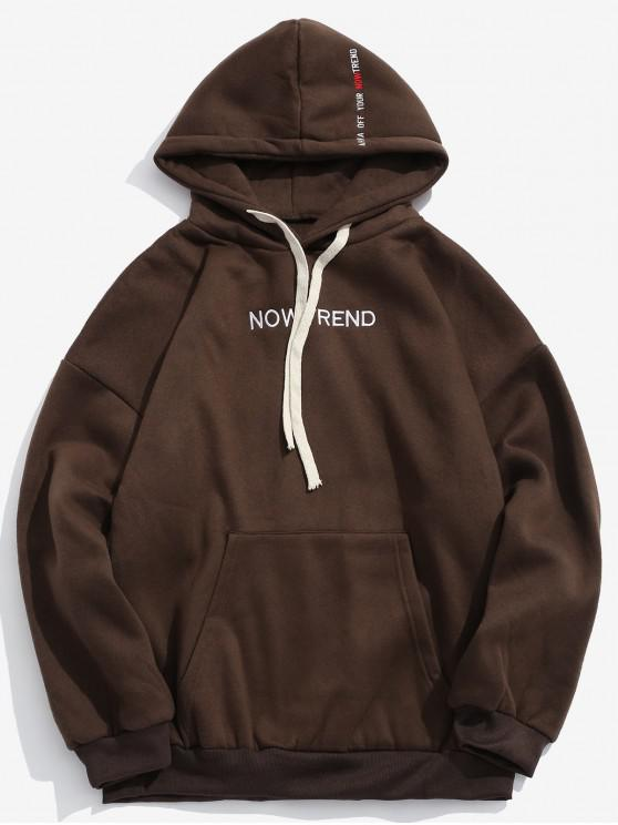 shop Letter Drawstring Fleece Hoodie - COFFEE S