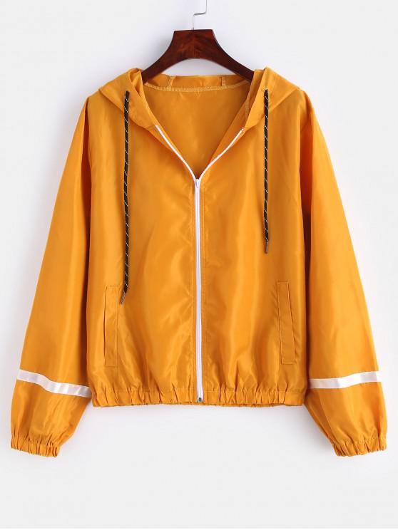 latest Stripe Panel Windbreaker Jacket - BRIGHT YELLOW S