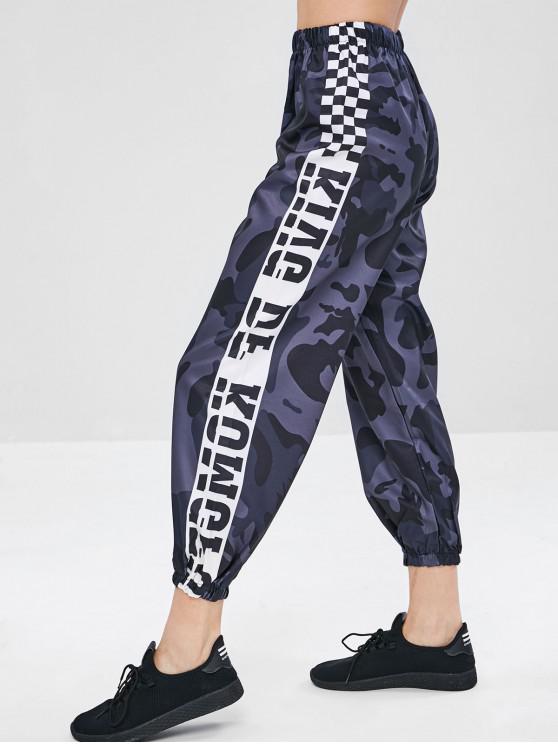 fashion Camo Plaid Print Jogger Pants - NAVY CAMOUFLAGE M