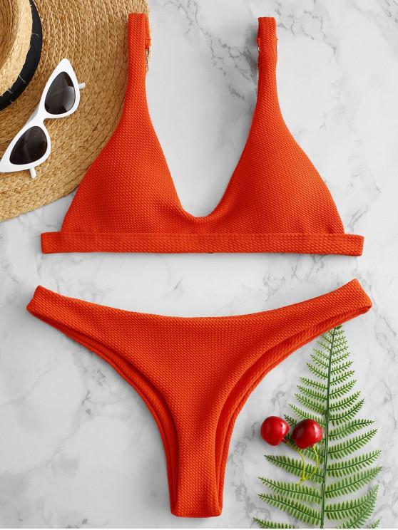 affordable Low Waisted Padded Scoop Bikini Set - BRIGHT ORANGE L