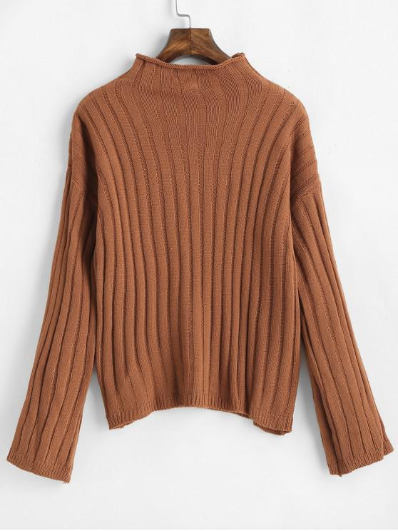 lady Drop Shoulder Knitted High Neck Sweater - BROWN ONE SIZE