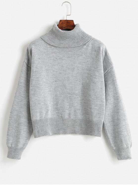 Трикотажный свитер с открытыми плечами - Светло-серый Один размер