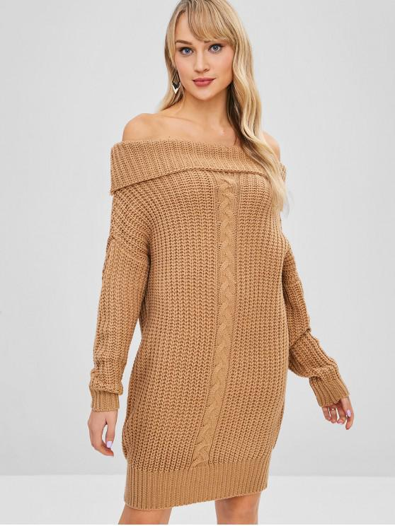 best Off Shoulder Foldover Sweater Dress - TAN ONE SIZE