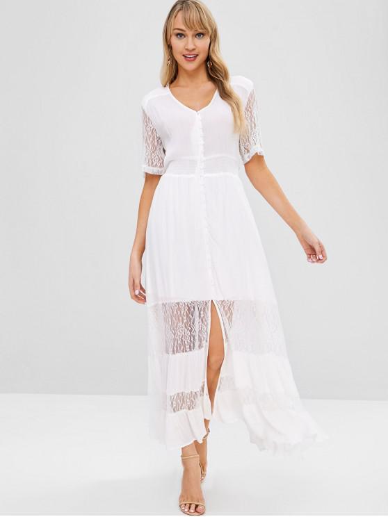 fancy Lace Trim Button Through Maxi Dress - WHITE M