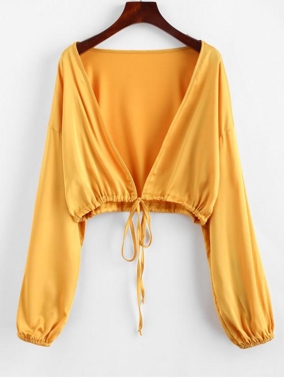 fancy ZAFUL Tie Front Cropped Blouse - GOLDEN BROWN ONE SIZE