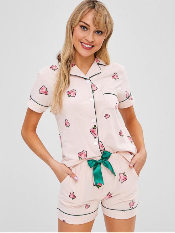 Conjunto de pijama con botones y mangas cortas de fresa - Rosa Claro 2XL