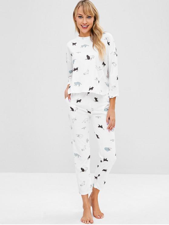 Ensemble de Pyjama Haut Bas Chat Imprimé - Blanc 2XL
