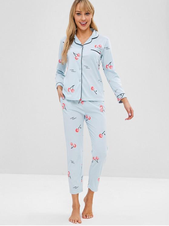 Ensemble de Pyjama Cerise Boutonné avec Poche - Bleu de Jean L