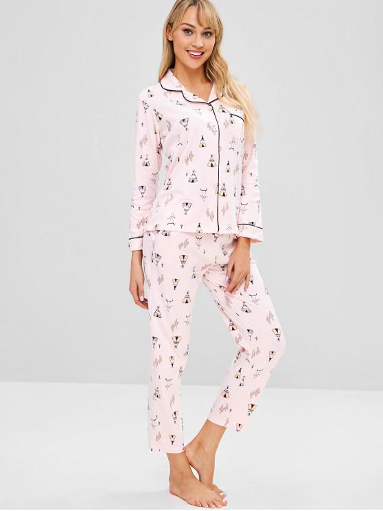 fashion Cactus Pocket Button Up Pajama Set - LIGHT PINK 2XL