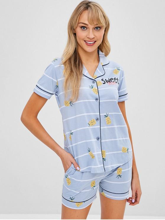 chic Pineapple Striped Short Sleeve Pajama Set - DAY SKY BLUE L