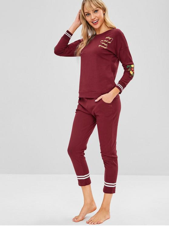 womens Flower Embroidered Striped Pajama Set - RED WINE 2XL
