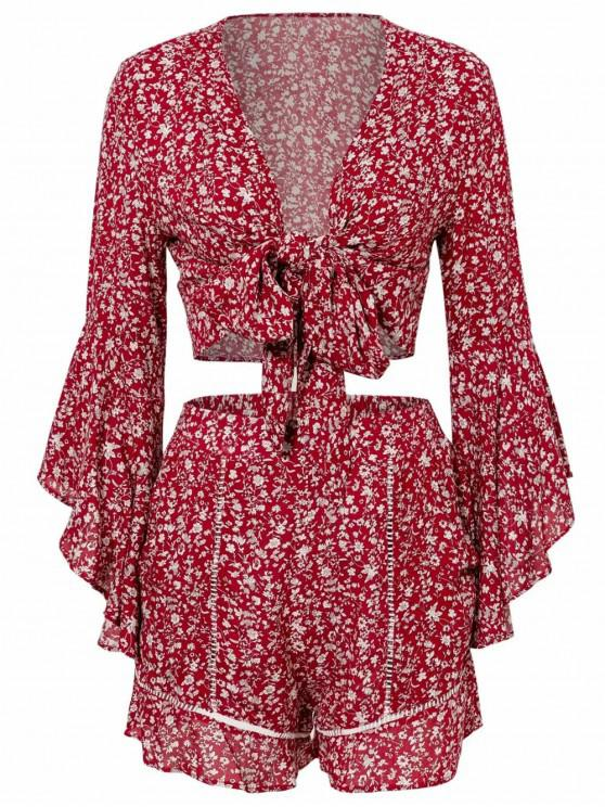 unique Printed Flare Sleeve Tie Front Top Set - CHERRY RED S