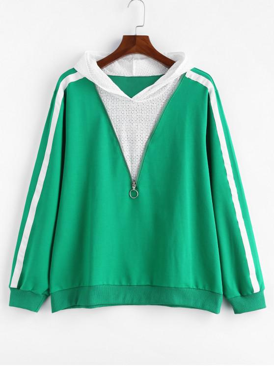 ladies Plus Size Side Striped Zipper Hoodie - GREEN 4X
