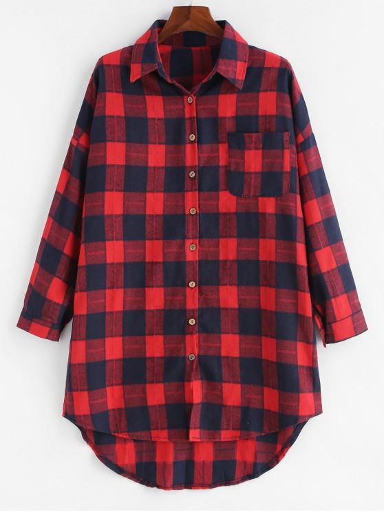 Camisa de bolsillo a cuadros con botones de talla grande - Multicolor-A 2X