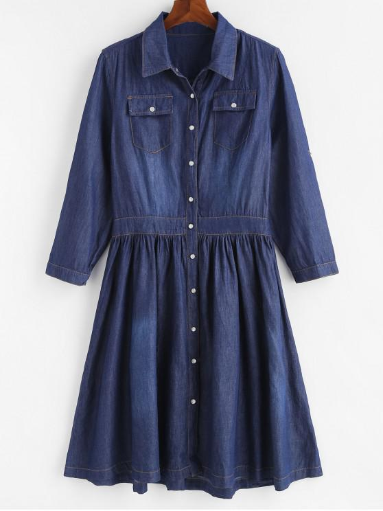 chic Plus Size Snap Button Chambray Flare Dress - DENIM DARK BLUE 4X