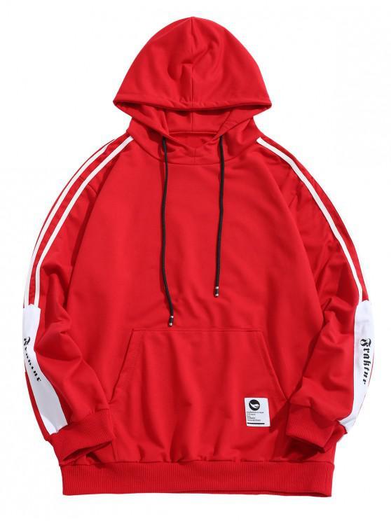 Sweat à capuche rayé avec lettres et poches - Rouge S