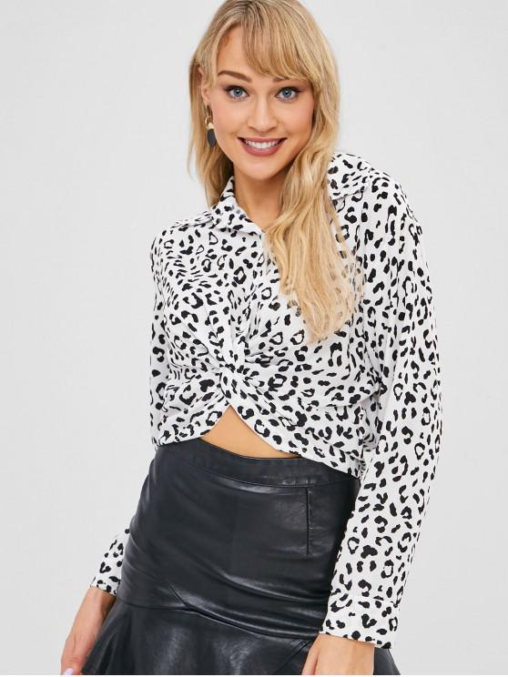 latest Twist Leopard Shirt - WHITE ONE SIZE