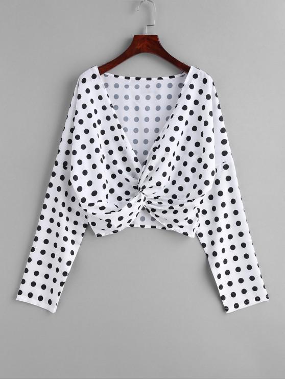 Blusa de lunares delantera torcida - Blanco S