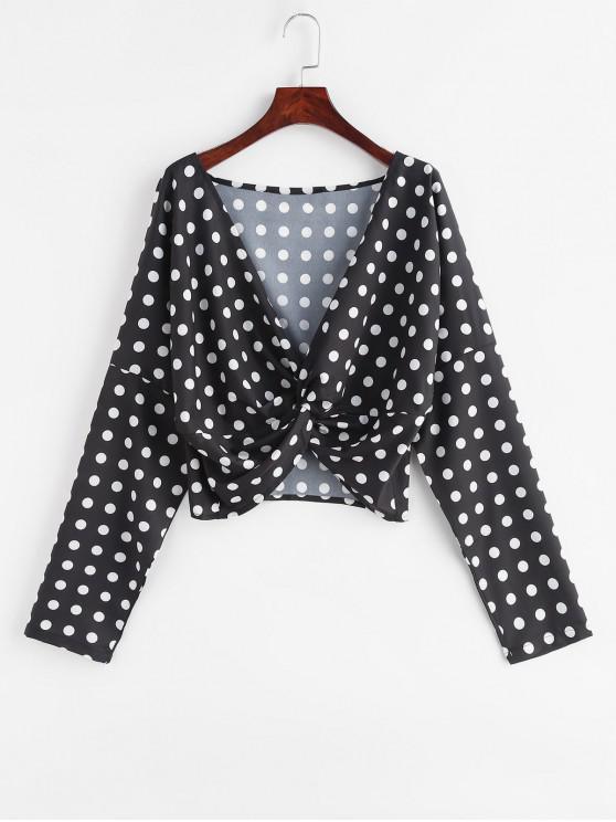 lady Twist Front Polka Dot Blouse - BLACK S